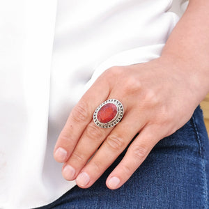 Large Oval Ruby Statement Boho Ring Size 9 S