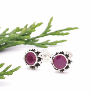Ruby Studs, Sterling Silver Ruby Gemstone Earrings, Birthstone Jewelry, Boho Earrings, Pink Gemstone Earrings, Bohemian Earrings, Dainty