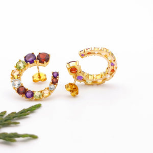 Unique Cluster Crystals Gold Large Stud Earrings