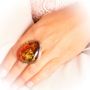 Huge Amber Ring, Gemstone Ring, Large Baltic Ring, Chunky Ring, Unique Ring, Gift for Her, Sterling Silver Adjustable Ring 7 8 9 10