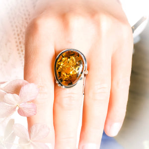 Natural Stone Ring, Amber Ring, Baltic Amber Sterling Silver Ring, Birthstone Ring, Gemstone Ring, Cocktail Ring, Boho Ring, Size 11 V W