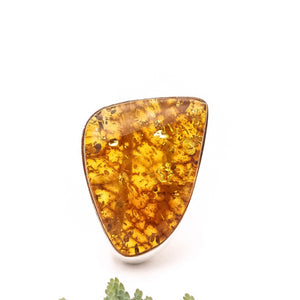 Huge Amber Ring, Statement Ring, Large Baltic Amber Ring, Triangle Ring, Teardrop Ring, Unique Ring, Gemstone Ring, Chunky Ring, Size 9 S