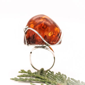 Huge Unique Baltic Amber Ring, Statement Ring, Gemstone Adjustable Ring, Chunky Ring, Large Ring, Cherry Amber Sterling Silver Ring, 6.5 N