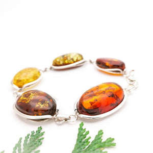 Amber Silver Bracelet, Large Amber Stone Bracelet, Sterling Silver Chain Link Amber Gemstone Bracelet for Mom, Christmas Gifts, Unique Gifts