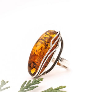Simple Amber Stone Ring, Sterling Silver Long Amber Ring, Statement Baltic Amber Crystal Ring, Gemstone Ring, Adjustable Ring, 7.5 8.5 P R