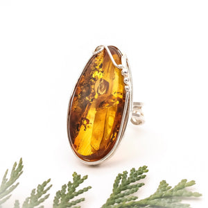 Adjustable Ring, Sterling Silver Amber Ring, Statement Baltic Amber Stone Ring, Long Ring, Index Finger Ring, Simple Gemstone Ring, 7 O