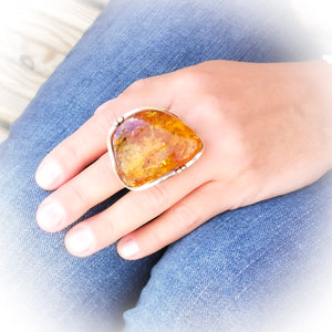 Raw Amber Stone Ring, Statement Baltic Amber Ring, Chunky Ring, Natural Rough Stone Ring, Large Ring, Unique Ring, Adjustable Ring 8.5 R 7 O