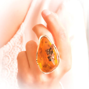 Chunky Ring, Statement Amber Ring, Long Natural Baltic Amber Stone Ring, Large Ring, Adjustable Ring, Unique Ring, Full Finger Ring, 8.5 R