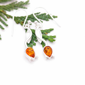 Flower Silver Amber Dangle Earrings, Minimalist Amber Tulip Silver Drop Earrings, Dainty Amber Stone Dangle Earrings, Leaf Floral Earrings