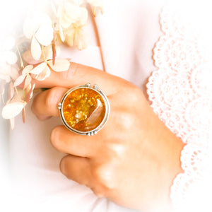 Chunky Baltic Amber Circle Adjustable Ring