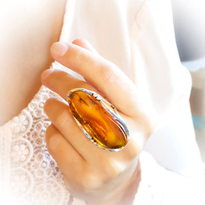 Full Finger Ring, Long Natural Baltic Amber Stone Ring, Adjustable Ring, Chunky Ring, Unique Ring, Large Ring, Size 8 Q