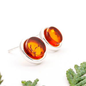 Natural Baltic Amber Silver Stud Earrings, Sterling Silver Amber Stud Earrings, Minimalist Amber Stone Studs, Dainty Gemstone Stud Earrings