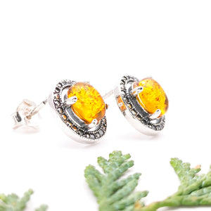 Statement Amber Stone Studs, Large Amber Silver Stud Earrings, Sterling Silver Amber Simple Stud Earrings, Oval Gemstone Stud Earrings