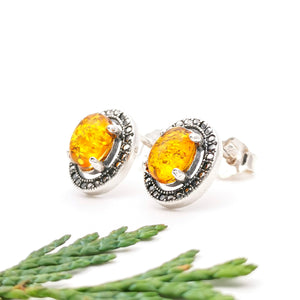 Yellow Amber Stone Sterling Silver Studs