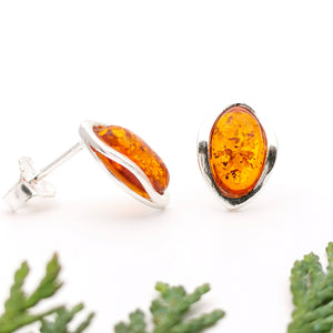 Small Baltic Amber Silver Stud Earrings, Sterling Silver Amber Simple Stud Earrings, Classic Amber Stone Studs, Oval Gemstone Stud Earrings