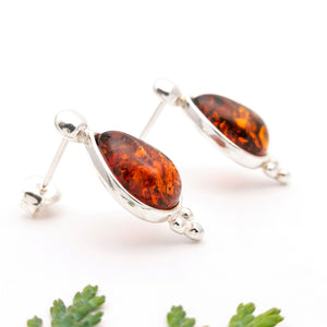 Teardrop Amber Stone Silver Stud Earrings, Sterling Silver Amber Simple Stud Earrings, Statement Amber Stone Studs, Gemstone Stud Earrings