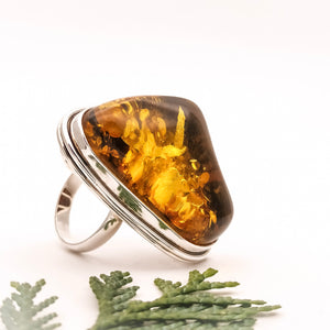 Unique Triangle Amber Ring, Sterling Silver Amber Stone Ring, Handmade Gemstone Ring, Large Ring, Chunky Ring, Natural Stone Ring, 7 O