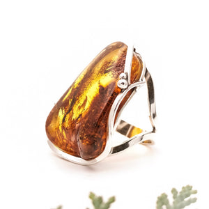 Raw Amber Stone Ring, Statement Baltic Amber Ring, Chunky Ring, Natural Rough Stone Ring, Large Ring, Adjustable Ring, Unique Ring, 7 O