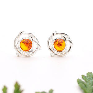 Small Flower Amber Silver Stud Earrings, Minimalist Sterling Silver Amber Dainty Stud Earrings, Simple Stud, Cute Gemstone Stud Earrings