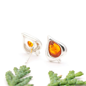 Tiny Teardrop Amber Silver Stud Earrings, Dainty Sterling Silver Amber Simple Stud Earrings, Small Leaf Stud, Cute Gemstone Stud Earrings