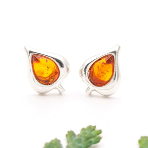 Tiny Teardrop Amber Silver Stud Earrings