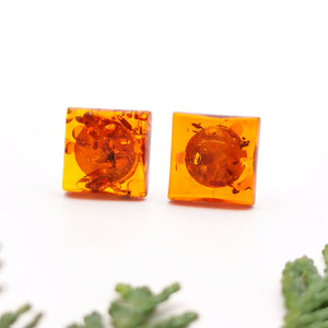 Geometric Amber Silver Stud Earrings, Dainty Sterling Silver Amber Simple Stud Earrings, Small Square Stud, Modern Gemstone Stud Earrings