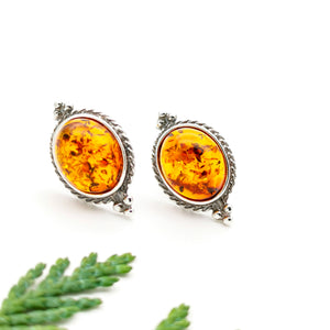 Vintage Amber Silver Stud Earrings, Sterling Silver Amber Simple Stud Earrings, Statement Amber Stone Studs, Oval Gemstone Stud Earrings