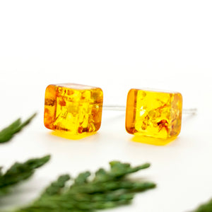 Geometric Amber Silver Stud Earrings, Dainty Sterling Silver Amber Simple Stud Earrings, Small Square Stud, Cute Gemstone Stud Earrings