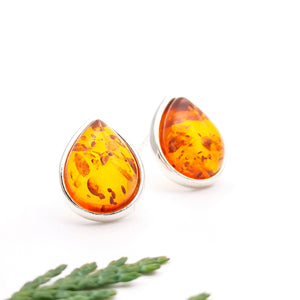 Baltic Amber Silver Stud Earrings, Sterling Silver Amber Simple Stud Earrings, Statement Amber Stone Studs, Teardrop Gemstone Stud Earrings