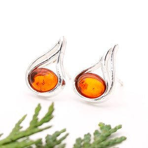 Sterling Silver Amber Simple Stud Earrings, Amber Silver Stud Earrings, Statement Amber Stone Studs, Modern Teardrop Gemstone Stud Earrings