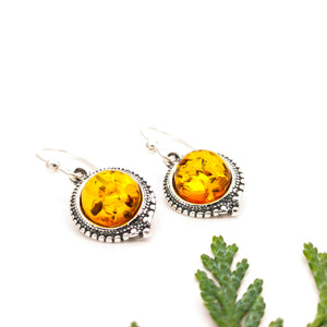 Dainty Sterling Silver Amber Earrings, Boho Gemstone Silver Drop Earrings, Amber Stone Vintage Dangle Earrings, Clip On