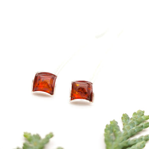 Geometric Amber Silver Threader Earrings, Dainty Sterling Silver Amber Simple Dangle Earrings, Small Square Dangle, Cute Gemstone Earrings