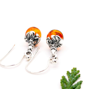 Boho Sterling Silver Amber Dangle Earrings, Ball Gemstone Silver Drop Earrings, Round Amber Stone Flower Dangle Earrings, Vintage Earrings