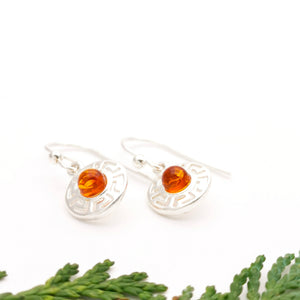 Minimalist Zig Zag Silver Drop Earrings, Delicate Sterling Silver Amber Dangle Earrings, Round Amber Stone Simple Dangle Leverback Earrings