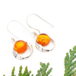 Simple Sterling Silver Amber Dangle Earrings, Minimalist Gemstone Silver Drop Earrings, Round Amber Stone Dangle Earrings, Dainty Earrings