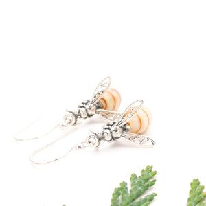 Cute Bee Earrings Dangle, Statement Amber Silver Bee Earrings, Bee Stud Earrings, Nature Jewelry, Filigree Sterling Silver Drop Bug Earrings