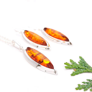 Amber Jewelry Set, Long Teardrop Silver Amber Earrings, Large Statement Amber Dangle Earrings, Amber Pendant, Sterling Silver Amber Necklace