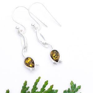 Flower Silver Amber Dangle Earrings, Minimalist Amber Tulip Silver Drop Earrings, Dainty Green Amber Dangle Earrings, Leaf Floral Earrings