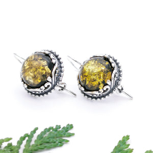 Statement Filigree Sterling Silver Amber Dangle Earrings, Large Gemstone Silver Drop Earrings, Flower Earrings, Green Amber Dangle Earrings