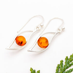 Dainty Sterling Silver Teardrop Amber Earrings, Amber Stone Teardrop Simple Dangle Earrings, Minimalist Gemstone Silver Drop Earrings