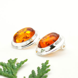 Grandma Gift Amber Silver Clip On Earrings, Large Sterling Silver Amber Stone Simple Clip On Earrings, Big Amber Gemstone Clip On Earrings