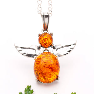 Dainty Angel Silver Necklace, Amber Pendant, Gemstone Necklace, Sterling Silver Guardian Angel, Gift for Her, Protection Jewelry