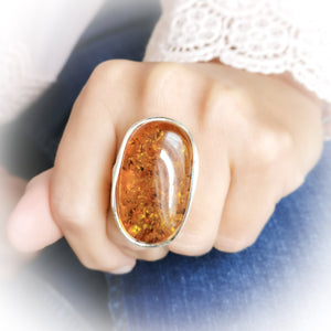 Simple Large Oval Amber Stone Ring, Adjustable Ring, Chunky Ring, Unique Ring, Large Ring, Gift for Her, Birthstone Ring, 8 9 10 Q R S T U