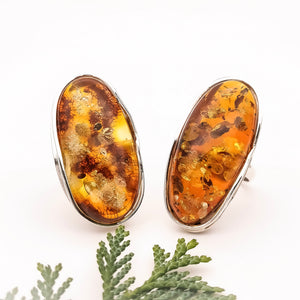 Simple Large Oval Amber Adjustable Ring Size 10 U