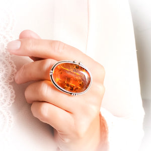 Chunky Amber Stone Silver Ring, Unique Large Amber Ring, Oval Natural Baltic Amber Ring, Adjustable Ring, Gift for Her, Simple Ring, 7 O