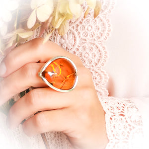 Statement Amber Ring, Baltic Amber Stone Ring, Large Ring, Adjustable Ring, Unique Ring, Teardrop Ring, Crystal Ring, Gift for Mom, 11 W