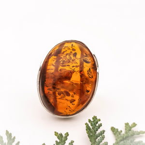 Cherry Amber Stone Silver Ring, Chunky Ring, Unique Large Amber Ring, Oval Natural Baltic Amber Ring, Adjustable Ring, Simple Ring, 10.5 V