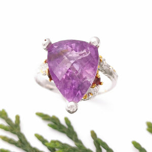 Sterling Silver Gold Amethyst Ring, Mixed Metal Gemstone Promise Ring, Unique Nature Ring, Engagement Ring, Branch Ring, Gift for Her, 8 Q