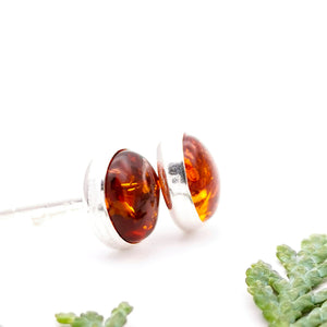 Baltic Amber Silver Stud Earrings, Sterling Silver Amber Simple Stud Earrings, Minimalist Amber Stone Studs, Dainty Gemstone Stud Earrings