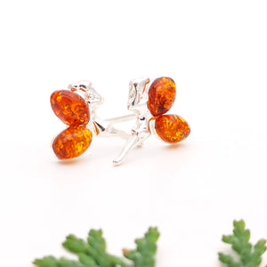 Sterling Silver Amber Fairy Stud Earrings